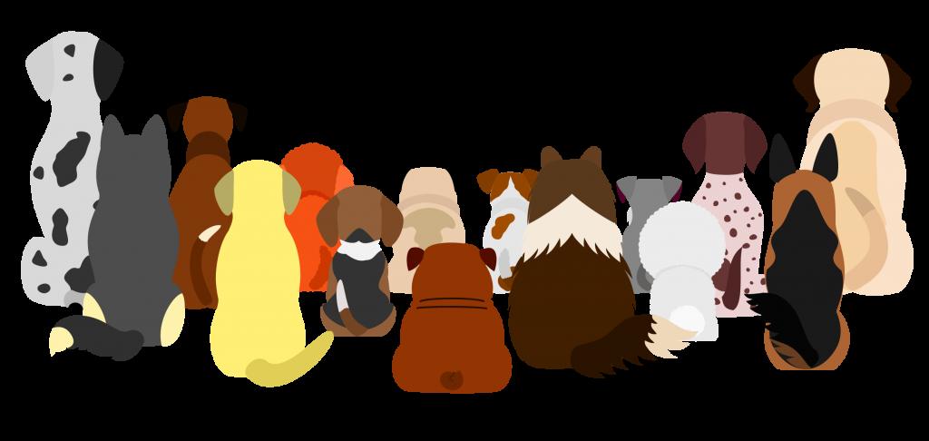 backs of cartoon dogs