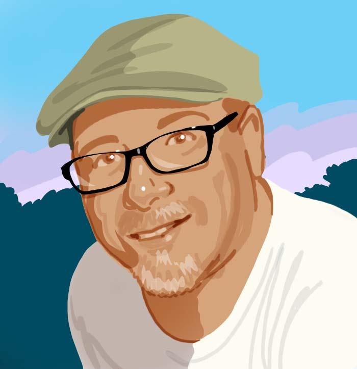 Tom Foty illustrated self-portrait
